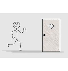 Running man and door with heart vector