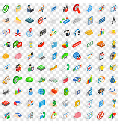 100 creative idea icons set isometric 3d style vector