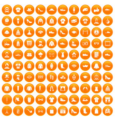 100 fashion icons set orange vector image
