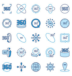 360 degree colored icons collection vector image