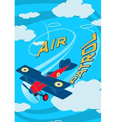 Air patrol aircraft flying loops in the sky vector
