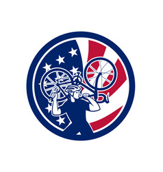 american bike mechanic usa flag mascot vector image