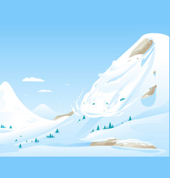 Avalanche in mountains vector