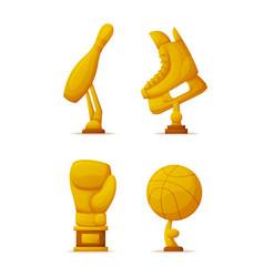 awards skittle box glove ball and skate vector image
