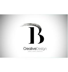 b brush stroke letter logo design black paint vector image