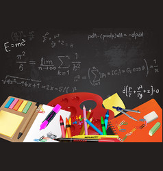 Background back to school with aids and equations vector