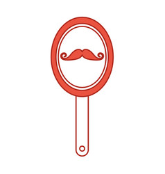 Barber mirror with mustache reflection vector