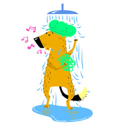 Bathing dog cute dog takes a shower vector