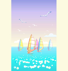Beautiful seascape with windsurfers on horizon vector