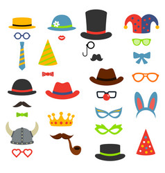 birthday party photo booth props flat style vector image