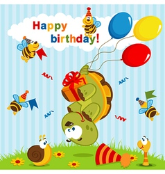 Birthday turtle flown on balloons vector