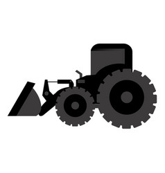 Black backhoe loader icon vector
