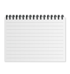 blank realistic spiral notepad on white vector image