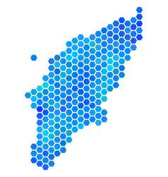 Blue hexagon greek rhodes island map vector