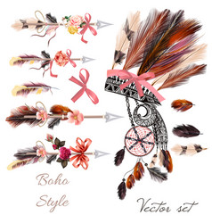 boho fashion set from decorative elements vector image