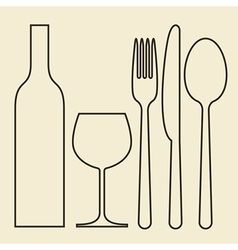 Bottle wineglass fork knife and spoon vector image