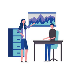 business man and woman meeting showing report vector image