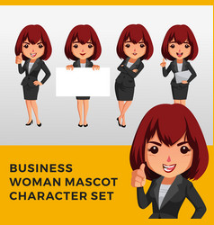 business woman character mascot set logo icon vector image