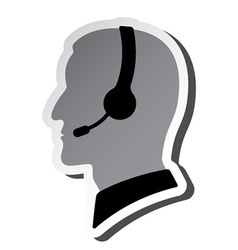 Call center person silhouette vector
