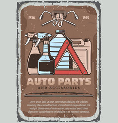 Car fluids and auto part accessories shop poster vector