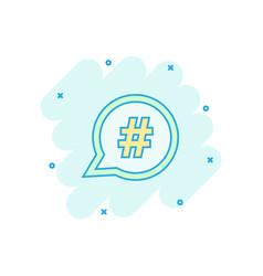 cartoon hashtag icon in comic style social media vector image
