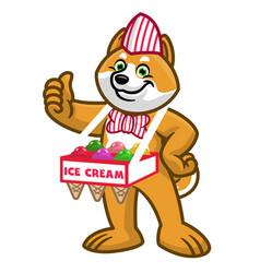 Cartoon shiba inu dog sold ice cream vector