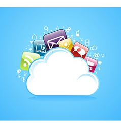 Cloud storage glossy app icons vector