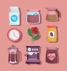 coffee brewing methods set icons kettle machine vector image