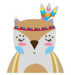 Colorful cute owl animal with feathers decoration vector