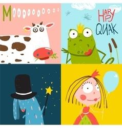 Colorful Fun Cartoon Hand Drawn Animals Greeting vector image