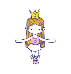 Colorful girl practice ballet with profesional vector