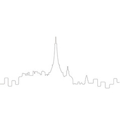 Continous line skyline of paris vector