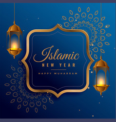 Creative islamic new year design with hanging vector