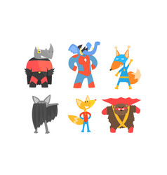 Cute animals in masks and cloaks superheroes vector