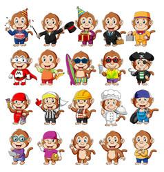 cute monkey cartoon mascot pack vector image