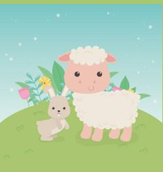 Cute sheep and rabbit animals farm characters vector