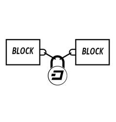 Dash block chain technology icon disign vector