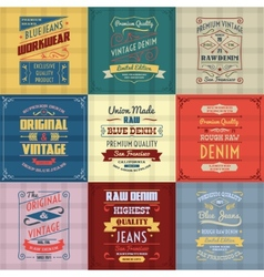 Denim typography background color set vector