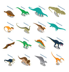Dinosaurs isometric icons set vector