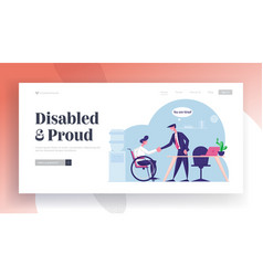 Disability employment work for disabled people vector