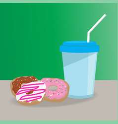 Donuts and cup flat style vector