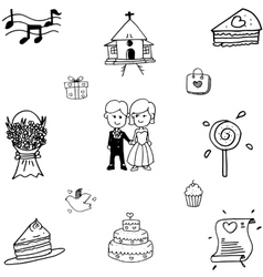Doodle of Wedding party set vector