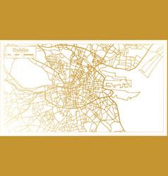 dublin ireland city map in retro style in golden vector image
