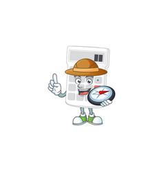 Explorer white calculator in character mascot vector
