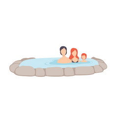 Family enjoying outdoor jacuzzi mother father vector