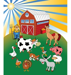 Farmer with animals vector