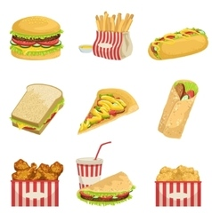Fast Food Menu Items Realistic Detailed vector image
