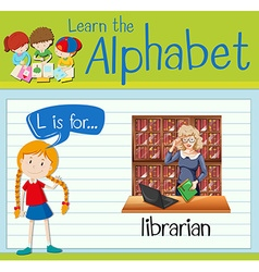 Flashcard letter L is for librarian vector image