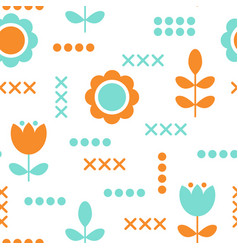 Floral pattern surface design scandinavian style vector