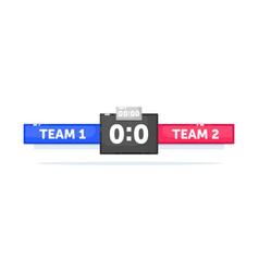Football game match score on scoreboard template vector